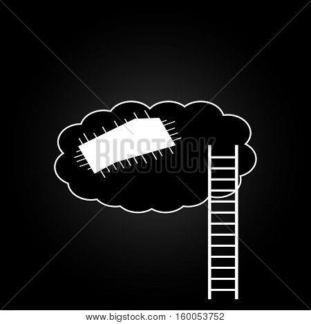 Ladder to cloud on dark background. Vector illustration