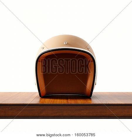 Front side view of brown color vintage style motorcycle helmet on natural wooden desk.Concept classic object white background.Square.3d rendering
