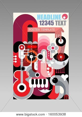 Abstract art composition vector poster template. Multipurpose flyer design.