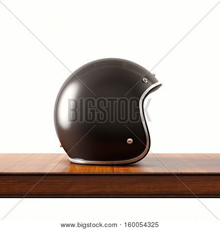 Side view of black color vintage style motorcycle helmet on natural wooden desk.Concept classic object white background.Square.3d rendering