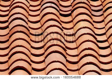 Close up shot of a roof with clay tiles