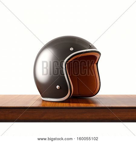 Side view of black color retro style motorcycle helmet on natural wooden desk.Concept classic object isolated white background.Square.3d rendering