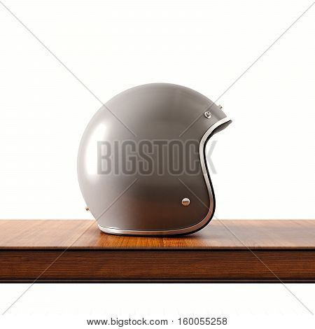 Side view of gray color vintage style motorcycle helmet on natural wooden desk.Concept classic object white background.Square.3d rendering