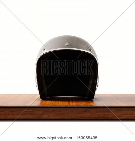 Front side view of gray color vintage style motorcycle helmet on natural wooden desk.Concept classic object white background.Square.3d rendering