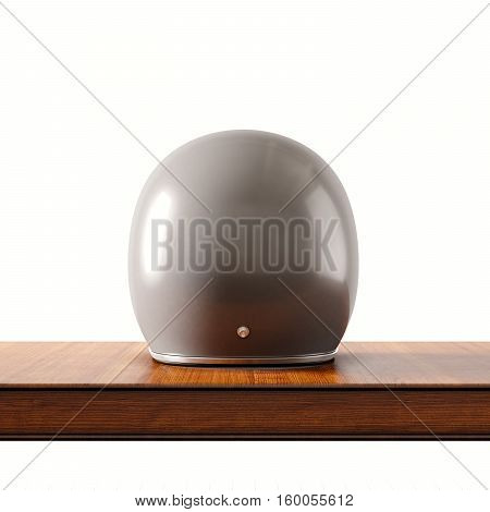 Back side view of gray color vintage style motorcycle helmet on natural wooden desk.Concept classic object white background.Square.3d rendering