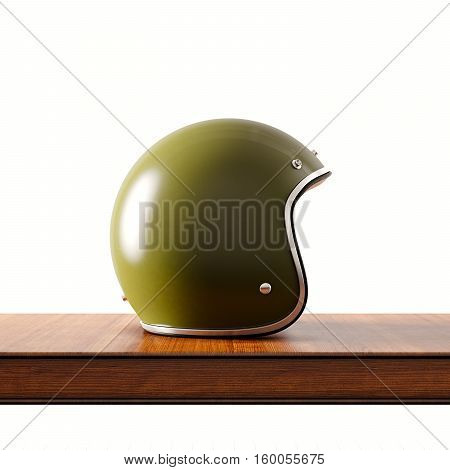 Side view of green color vintage style motorcycle helmet on natural wooden desk.Concept classic object isolated at white background.Square.3d rendering