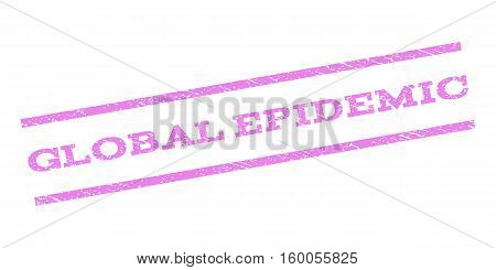 Global Epidemic watermark stamp. Text tag between parallel lines with grunge design style. Rubber seal stamp with scratched texture. Vector violet color ink imprint on a white background.