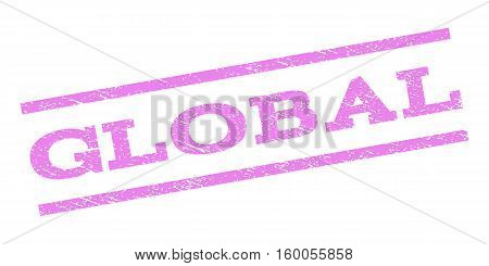 Global watermark stamp. Text caption between parallel lines with grunge design style. Rubber seal stamp with dirty texture. Vector violet color ink imprint on a white background.