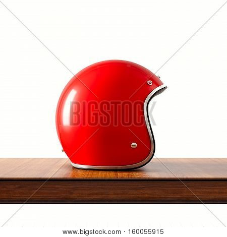 Side view of red color vintage style motorcycle helmet on natural wooden desk.Concept classic object isolated at white background.Square.3d rendering