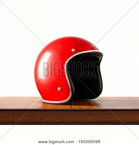 Side view of red color retro style motorcycle helmet on natural wooden desk.Concept classic object isolated white background.Square.3d rendering
