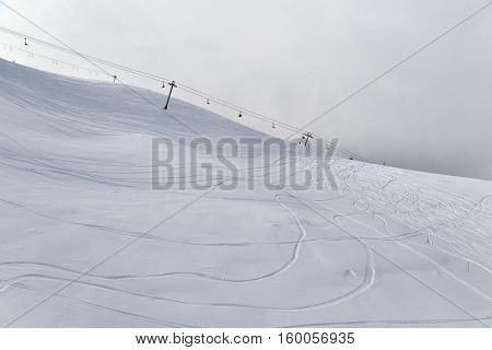 Skiing slope in the French Alpes