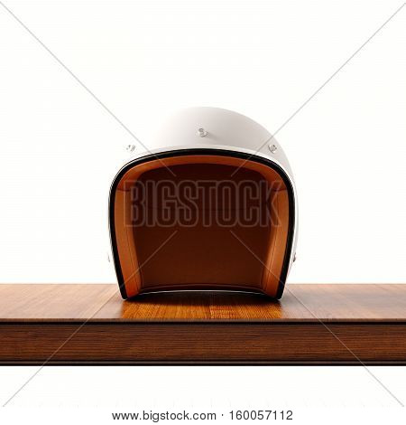 Front side view of white color vintage style motorcycle helmet on natural wooden desk.Concept classic object isolated at empty background.Square.3d rendering