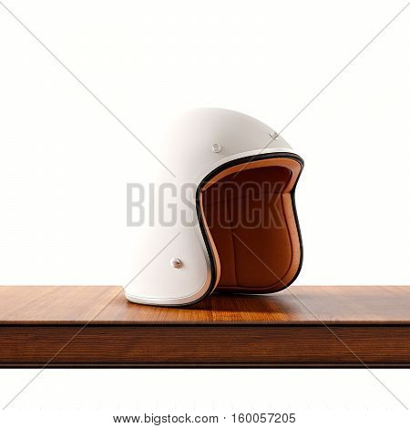 Side view of white color retro style motorcycle helmet on natural wooden desk.Concept classic object isolated at empty background.Square.3d rendering