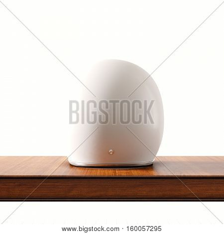 Back side view of white color vintage style motorcycle helmet on natural wooden desk.Concept classic object isolated at empty background.Square.3d rendering
