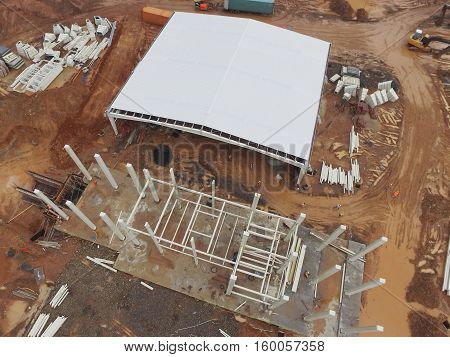 Aerial top  view of a construction site