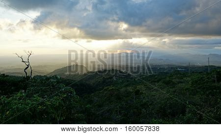 Beautiful sunset over the mountain region of Central Panama