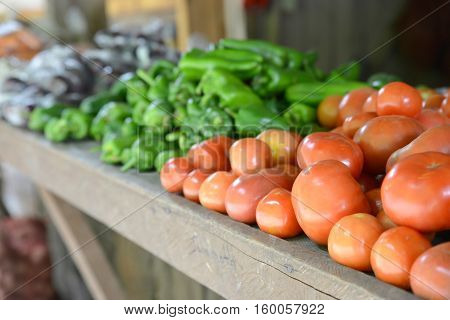All kinds of organic vegetables on a rural market's table