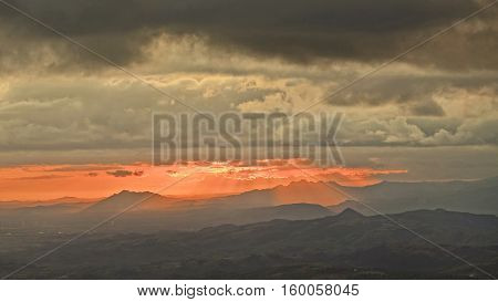 Beautiful sunset over the mountains of central Panama