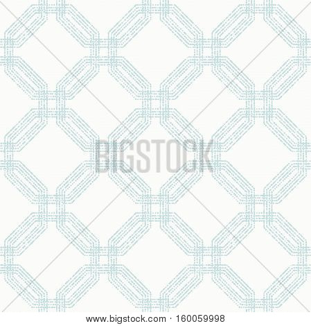 Geometric repeating vector ornament with light blue octagonal dotted elements. Geometric abstract ornament. Seamless abstract modern pattern