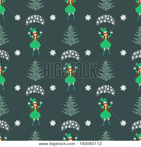seamless pattern. EPS 10 vector illustration. used for printing websites interior fabrics etc. Christmas theme. Girl Santa Claus on a parachute flying green trees and snowflakes