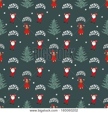 seamless pattern. EPS 10 vector illustration. used for printing websites design interior fabrics etc. Christmas theme. Girl santa claus red parachute flies and Santa Claus and the Christmas tree snowflakes.