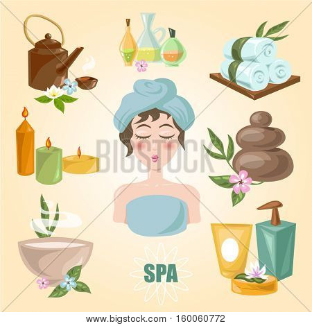 Spa symbols cartoon set. Spa emblems for beauty industry care products, spa salons or beauty salon. Vector Illustration.