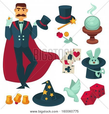 Magician holding golden coin. Vector Illustration. Illusionist magic show collection design elements.