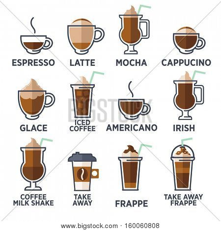 Coffee types or kinds set. Vector Illustration