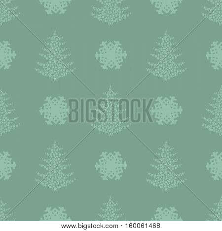 seamless pattern. EPS 10 vector illustration. used for printing websites design interior fabrics etc. Christmas theme. tree from snowflakes on a dark green background.