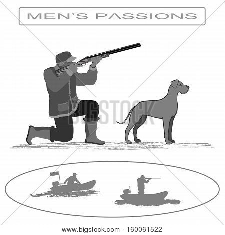 A man stands on one knee and fired from a rifle. Nearby is a dog . Isolate on white background.
