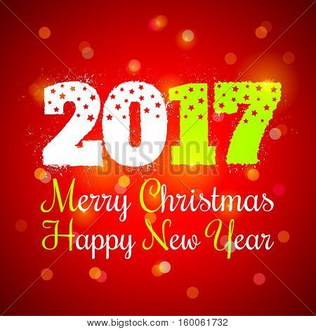 Vector New year symbol on red background. Christmas and New year 2017