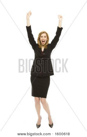 Businesswoman Gestures Excitement