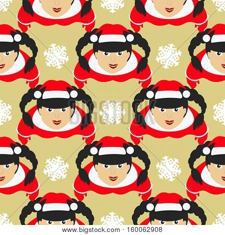 seamless pattern. EPS 10 vector illustration. used for printing websites design interior fabrics etc. Christmas theme. Santa Claus girl with the hair braids on a gold background among snowflakes.