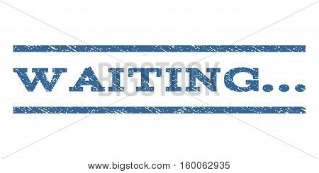Waiting... watermark stamp. Text tag between horizontal parallel lines with grunge design style. Rubber seal cobalt blue stamp with dirty texture. Vector ink imprint on a white background.