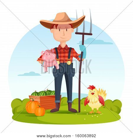 Farmer with pitchfork and pork, vegetables and hen. Field with rural farmer near watermelon and pumpkin, village or countryside man, redneck or cartoon farmer character, gardener person.