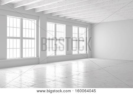 Light empty hall with large windows and parquet floors Loft open space mockup. Studio or office blank space. 3D rendering