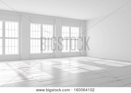 Light empty hall with large windows and wooden flooring. Studio or office blank space. 3D rendering