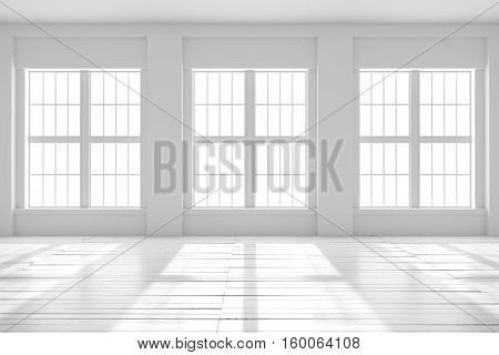 Light empty hall with large windows and parquet floors. Loft open space mockup. Studio or office blank space. 3D rendering.