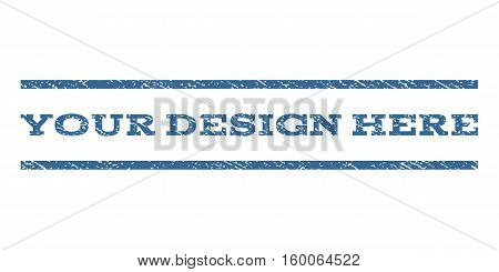 Your Design Here watermark stamp. Text caption between horizontal parallel lines with grunge design style. Rubber seal cobalt blue stamp with scratched texture.