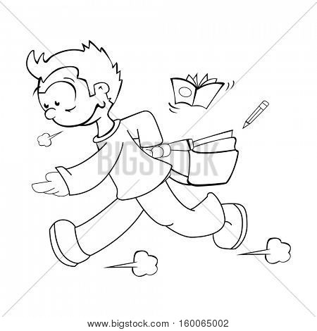 boy late for school cartoon illustration