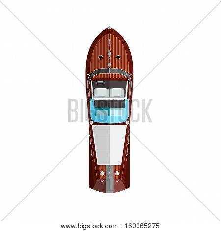 Red silver high speed motorboat top view