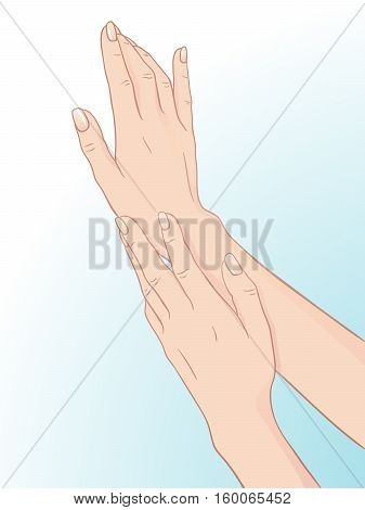 Beautiful female hands and manicure. Body care design vector illustration