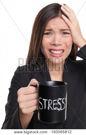 Stressed businesswoman drinking morning stress coffee cup. Stress concept. Business woman stressed in suit holding head addicted to caffeine. Studio isolated on white background.