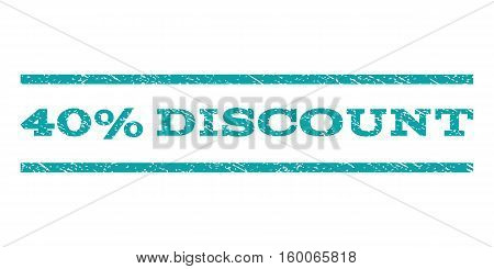 40 Percent Discount watermark stamp. Text tag between horizontal parallel lines with grunge design style. Rubber seal cyan stamp with scratched texture. Vector ink imprint on a white background.