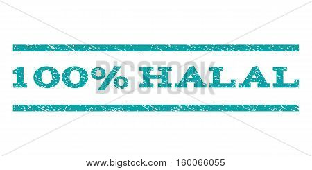 100 Percent Halal watermark stamp. Text tag between horizontal parallel lines with grunge design style. Rubber seal cyan stamp with scratched texture. Vector ink imprint on a white background.