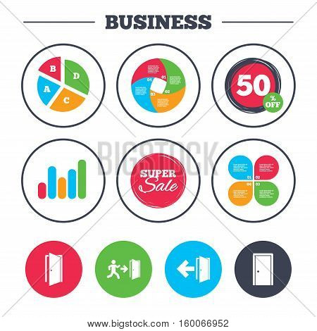 Business pie chart. Growth graph. Doors icons. Emergency exit with human figure and arrow symbols. Fire exit signs. Super sale and discount buttons. Vector