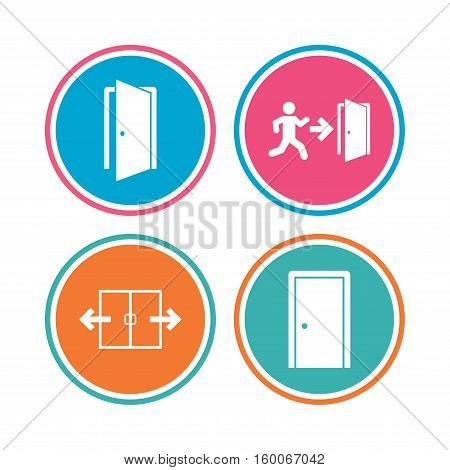 Automatic door icon. Emergency exit with human figure and arrow symbols. Fire exit signs. Colored circle buttons. Vector