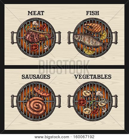 Barbecue grill top view with charcoal mushroom tomato pepper kebab beef steak. Lettered text BBQ fish vegetables sausage meat. Vintage color vector engraving illustration. Wood background