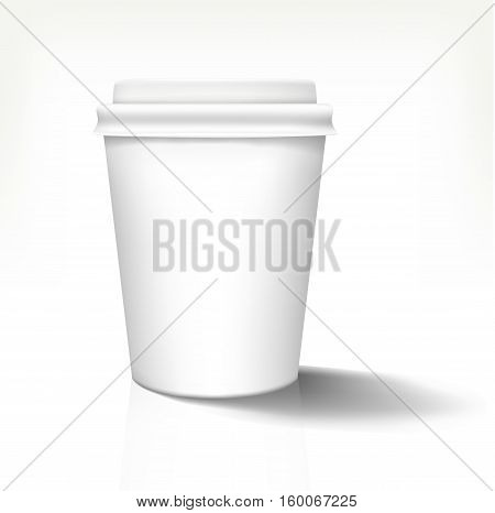 White realistic paper cup in front view with white cover. Vector illustration. Fully editable handmade mesh. Disposable paper cup used for advertising different drinks.