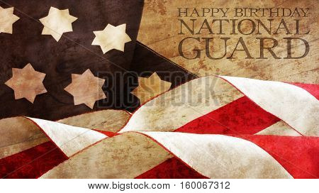 Happy Birthday National Guard. Usa Flag Waves and Wood